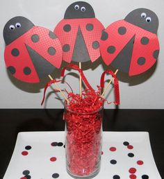 Lady Bug Centerpiece Picks Set of 3  Red and by YourPartyShoppe