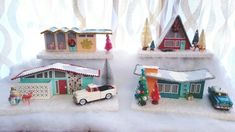 """Growing up, my favorite thing about Christmas was my grandmothers cardboard Christmas houses known as """"putz houses"""". I've been working on a few chipboard Christmas villages for my… Christmas Makes, Cozy Christmas, Modern Christmas, All Things Christmas, Handmade Christmas, Retro Christmas Decorations, Christmas Village Display, Christmas Villages, Dollar Tree Christmas"""