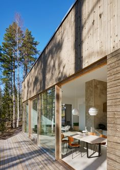 Summer House in Sweden. Timber Cladding, A Frame Cabin, Outdoor Seating Areas, Brick Fireplace, Interior Exterior, My New Room, Tiny House, Interiores Design, Future House