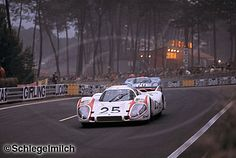 24h Le Mans 1970: Vic Elford (GB) and Kurt Ahrens, Jr. (D) retire in lap 225 with engine problems - the Porsche 917L #042 is entered by Porsche KG Salzburg - seen here in front of Jo Siffert's (CH) and Brian Redman's (GB) Porsche 917K 004/01 which retires after 156 laps with engine problems, too. - Schlegelmilch Photography
