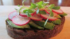 Spring Radish and Avocado Open-Faced Sandwich on Pumpernickel | American Vegetarian
