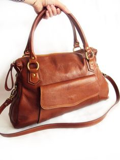 Cognac Brown Leather Handbag Classic Brown Purse Brown by RenaBags, $169.00
