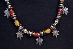 Agate and Silver Beaded Necklace With Leaf Charms by LKArtChic