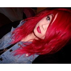 I miss my bright red hair ❤ liked on Polyvore featuring hair, hairstyles and red hair