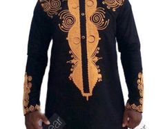 Details about Odeneho Wear Men Black Polished Cotton Outfit/Gold Embroidery.African Clothing We use the size chart of USA to make our clothes. Our top and bottom are usually custom made. African Attire, African Wear, African Dress, African Style, Tribal Shirt, Moroccan Caftan, Hippie Top, African American Fashion, African Dashiki