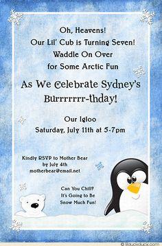 Winter Friends Birthday Invitation - Arctic Fun Summer Penguin & Polar Bear Card Design