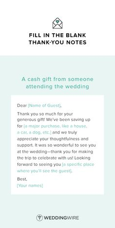 Wedding Thank You Note Template - thank you note template for a cash gift - see…