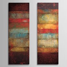 Oil Painting Abstract with Stretched Frame Set of 2 1308-AB0716 Hand-Painted Canvas – USD $ 77.99