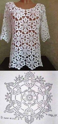 Transcendent Crochet a Solid Granny Square Ideas. Inconceivable Crochet a Solid Granny Square Ideas. T-shirt Au Crochet, Beau Crochet, Pull Crochet, Gilet Crochet, Mode Crochet, Crochet Tunic, Crochet Jacket, Crochet Diagram, Crochet Woman