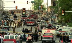 The downtown streets surrounding the Alfred Murrah Federal Building are swamped by emergency vehicles and personnel, April Oklahoma City Bombing Memorial, Path Of Destruction, Norman Oklahoma, Natural Disasters, Abandoned Places, Street View, April 19, History, Historia