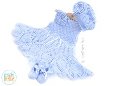 Baby Baptismal Christening Gown Dress Beret and Booties Crochet Pattern by IraRott
