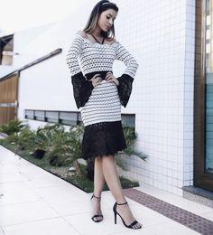 Vestido-midi-tricot-festa-glamour-rendado/Doce de Coco www.docedecocostore.com.br