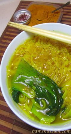 Golden Spiced Noodle soup with ginger, turmeric, and bok choy.  seems so simple.. I hope it's yummy