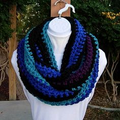 Large Crochet INFINITY SCARF Bulky Loop Cowl Black by MicheleMade