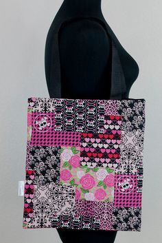 Girly Skull Floral Tote by Sweet Tempered Floral Tote Bags, Promotion, Skull, Girly, Trending Outfits, My Style, Unique Jewelry, Handmade Gifts, Sweet