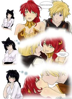 Blake you filthy little bookworm! XD never change! Dc Anime, Rwby Anime, Rwby Fanart, Anime Comics, Kawaii Anime, Rwby Jaune, Rwby Pyrrha, Rwby Blake, Rwby Memes
