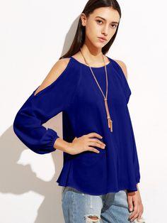 5125feff9207f Milumia Womens Open Shoulder Raglan Long Sleeve Blouse Top Medium Blue      Want to