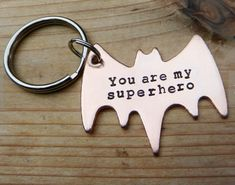 "Gifts for Him:  ""You Are My Superhero"" Batman Symbol Keychain by RAE Jewelry Designs @ Etsy"