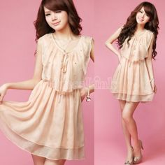 Womens Sweet Comely Pearl Lace Up flouncing Sleeveless Chiffon Dress