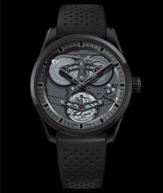 Cellini Jewelers Academy Tourbillion Georges Favre-Jacot Black ceramic hand wound movement Tourbillion opened worked movement 45mm case
