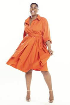 JIBRI Shirt Dress Notched Collar V Neckline Chic side pockets Oversized mid length sleeves with cuff Permanent Button Tab Sleeves Full Circle Skirt Attached wrap belt Relaxed Fit Fabrication: Poplin Sizing: True to Size (View Size Chart) Handmade in Atlanta, GA Style Notes: Trendy but also a dress that will never go out of style. Effortlessly chic and works well for most body types. Day Dresses, Casual Dresses, Dresses For Work, Orange Dress Shirt, Shirt Dress, Curvy Fashion, Plus Size Fashion, Spring Skirts, Full Figure Fashion