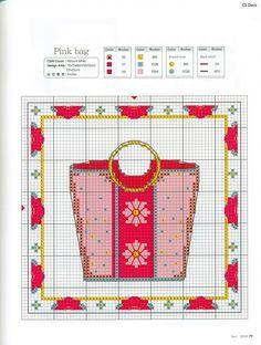 0 point de croix sac rose - cross stitch pink bag