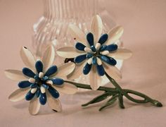 Vintage brooch flowers blue and white enamel by SVintageCollection