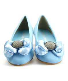 Look what I found on #zulily! Blue Puffy Bow Suede Flat #zulilyfinds