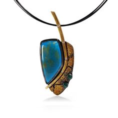 Meridian Pendant by Jenny Reeves; $ 3,200.00  ||  Pendant in Argentium sterling silver, 18K gold, 23K gold, chrysocolla, chrysoprase, .08ct white diamonds on coated stainless steel cable