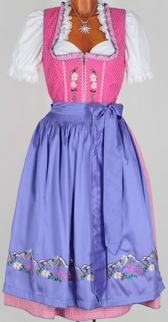 3560 CLASSIC cotton dirndl 70 pink 38 LILAC - Dirndl and costume costumes sky