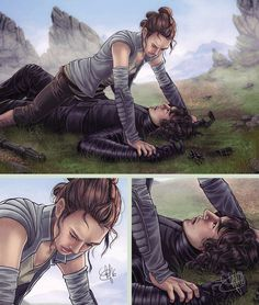 """Rey vs Kylo Ren he lost again by clefchan.deviantart.com on @DeviantArt-90% sure he said something like """"if you wanted to be in top all you had to do was ask"""" then Rey punched him"""