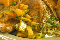 Moroccan-Style Tilapia with Cumin, Mango and Cilantro Recipe : Robin Miller : Food Network - FoodNetwork.com
