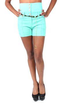 Pretty Girl - Mint Plus Size High Waisted Shorts with Gold Chain Belt, $19.99 (http://www.shopprettygirl.com/mint-plus-size-high-waisted-shorts-with-gold-chain-belt)