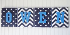 navy and white chevron nursery | ... , Personalized, Nursery Art, Navy and White Chevron and Polka Dots