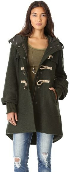 Free People Boiled Wool Military Pea Coat on shopstyle.com