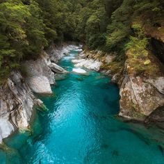The Blue Pools in Mt Aspiring National Park, South Island, New Zealand. The rainbow trout in these pools are enormous (but cannot be fished). What a beautiful spot.