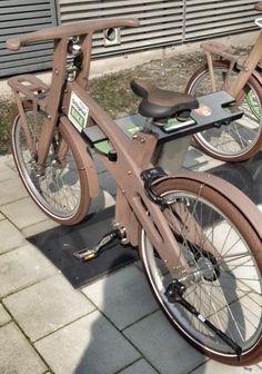 Wooden bike share system around Amsterdam Schiphol. Click image to tweet and visit the slowottawa.ca boards >> http://www.pinterest.com/slowottawa/