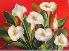 Lirios Blancos Mexican Paintings, Easy Paintings, Blossom Flower, Flower Art, Abstract Painting Techniques, Acrylic Flowers, Arte Floral, Calla Lily, Red Roses