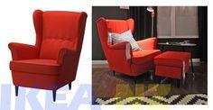 IKEA STRANDMON Wing Chair, Orange