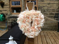 Heart shaped rag wreath handmade peaches and cream rustic cottage shabby chic by DottyCottage1 on Etsy
