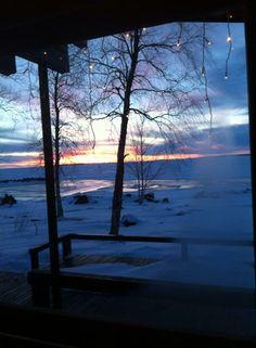 A view from Sauna, Finland. Scandinavian Design, Finland, Celestial, Sunset, Places, Winter, Travel, Outdoor, Winter Time