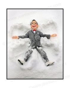 """Pee Wee Snow Angel Scene 1 - Photograph from """"Snow World"""" Series, Beloved Vintage Toy Doll, Happy Joy Smile Face by Jean Lannen on Etsy, $30.00"""