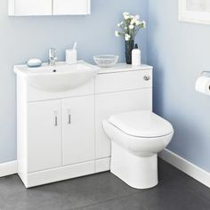 The Madison white gloss bathroom furniture pack is perfect for a cloakroom suite or en-suite