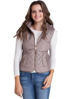 Quilted Padded Vest With Hood