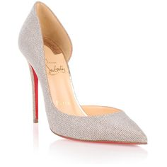 Christian Louboutin Iriza 100 Glitter Pump (1.855 BRL) ❤ liked on Polyvore featuring shoes, pumps, glitter, red sole shoes, d'orsay pumps, christian louboutin shoes, stiletto pumps and high heel shoes
