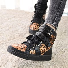 HK punk casual shoes in Europe and thick-soled platform shoes Leopard print high help shoes womens shoes at the end of 2