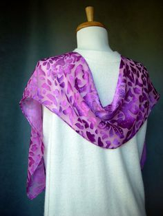 Hand Painted Silk Scarf  Light Mulberry soft silk by SheWeaves, $26.00