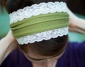 RUSTIC GREEN stretch trimmed scarf headcovering hair band head wrap covering