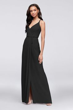 6fc6fa0d6b7 Double-Strap Georgette Bridesmaid Wrap Dress Style 4XLF19755
