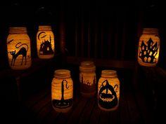 halloween deko diy laternen windlichter einweckgläser